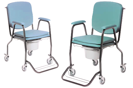 Potty chair, green, with wheels, with removable foor rests and high back rest, including toilet buck