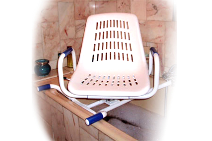 Bath seat, 360 degrees rotatable, with removable arm rest, aluminum, bearing capacity 100 kg
