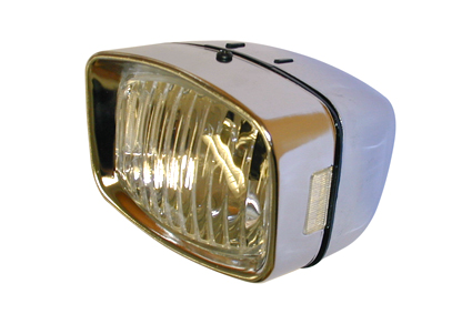 Headlight 92x72 mm, without reflexion, including 24V 12W bulb, metal chromed