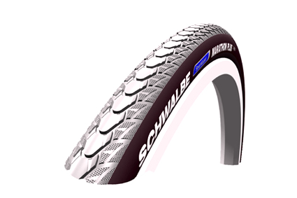 Tyre Schwalbe Marathon Plus SmartGuard (puncture proof layer) grey/black, size 25x1 (25-559) 2-Grip (user friendly, both tyre sides smooth), profile HS 348, 6-10 Bar