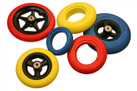 Coloured wheelchair wheels